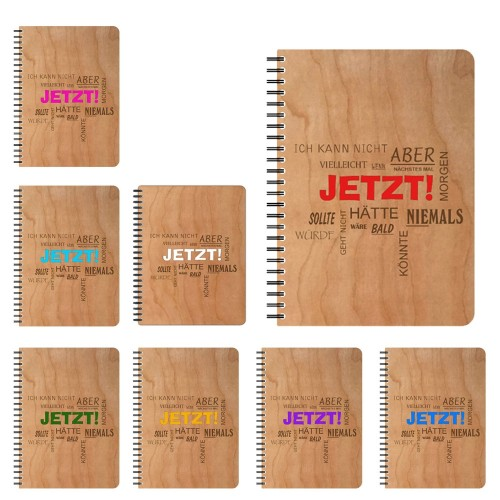 Refillable eco notebook with cherrywood veneer cover | echtholz