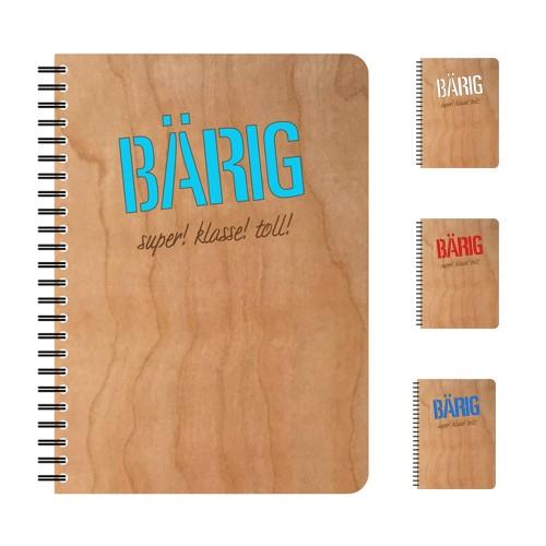 Eco Notebook BAERIG Cherrywood veneer cover & FSC® Paper | ECHTHOLZ
