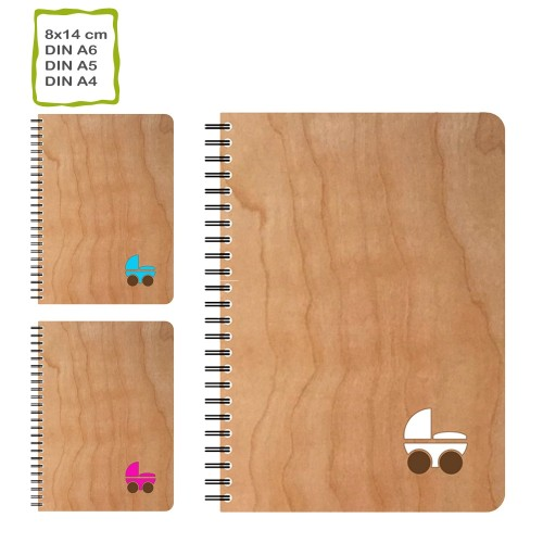 Genuine Cherrywood Cover Notebook PRAM, eco paper | echtholz