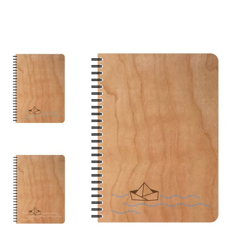 Refillable eco notebook PAPER BOAT in wooden cover | echtholz