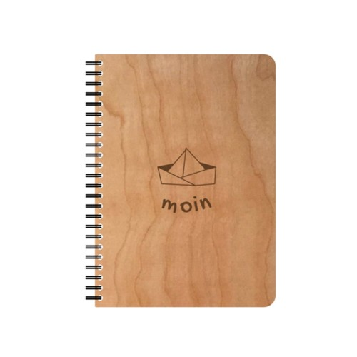 "Refillable eco notebook in wooden cover ""paper boat moin"" 
