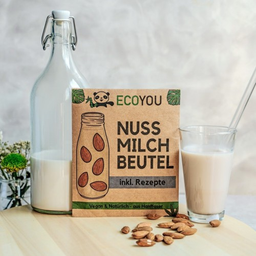 Eco Nut Milk Bag, Hemp, incl. recipes | EcoYou