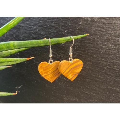 Heart Earrings Olive Wood » D.O.M.