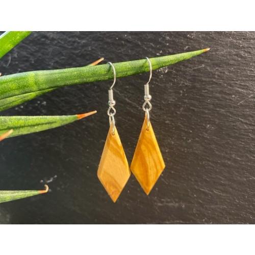 Rhombus Long Olive Wood Dangle Earrings » D.O.M.