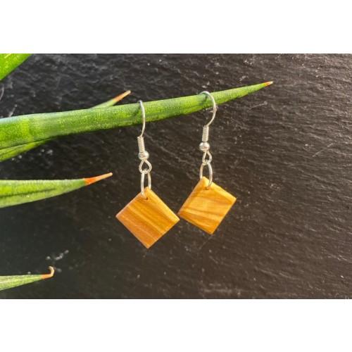 Eco Earrings Rhombus Olive Wood » D.O.M.