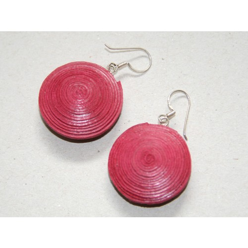 Disk Earrings of Eco Paper – Red