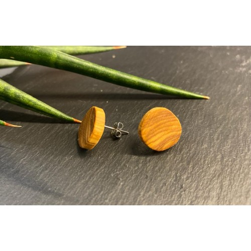 Natural Ear Stud Olive Wood Round » D.O.M.