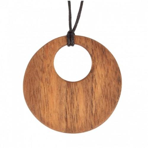 Halskette mit Ornament aus Walnussholz