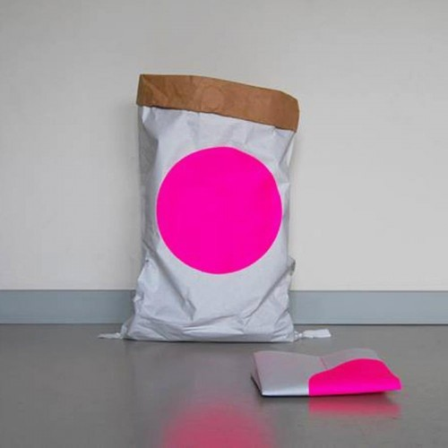 Paper bag made of recycled paper with pink dot