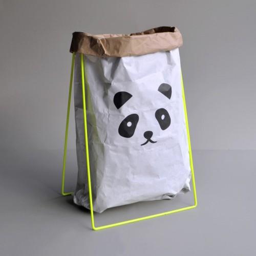Papiersack Halter (neon) mit Altpapiersack PANDA