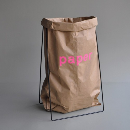 Black Paper Bag Holder with Paper Bag + Imprint PAPER