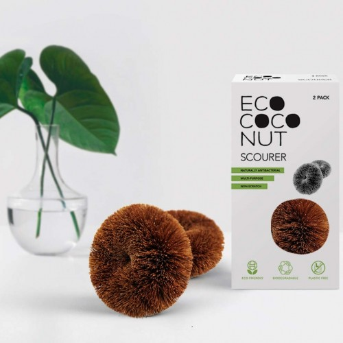 Plastic-free EcoCoconut Scourer, round, Twin Pack