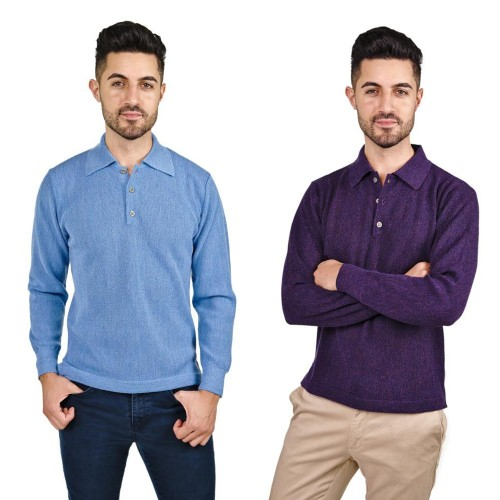 Alpaca Polo-Shirt Renzo, longsleeved Shirt for Men | AlpacaOne
