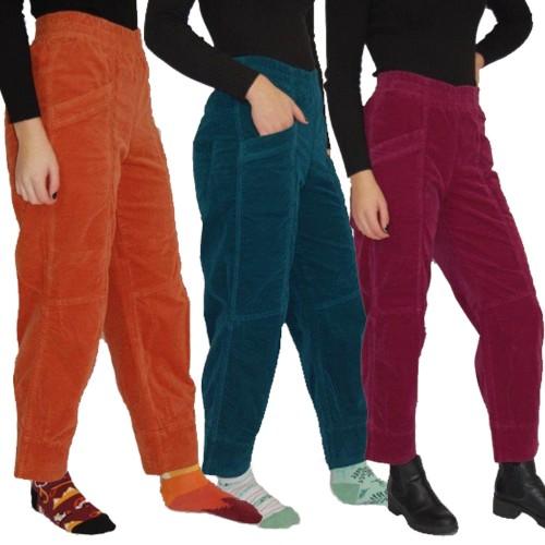 3/4 Velveteen Pull-On Trousers Irene, Elastic Waist | bloomers