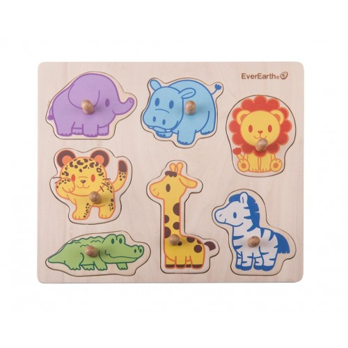 """EverEarth Wooden Toy """"Safari Peg Puzzle"""" made of FSC® Wood"""
