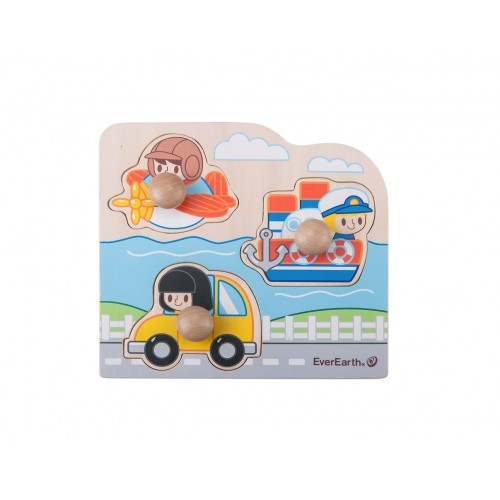 """EverEarth Wooden Puzzle """"Peg Vehicle"""" made of FSC® Wood"""