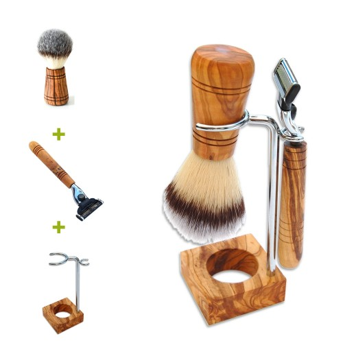 Shaving Holder RUDI PLUS, olive wood, various versions | D.O.M.