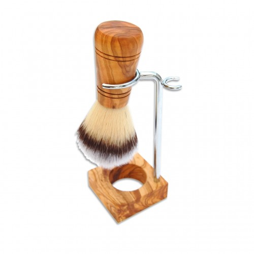 Shaving Holder RUDI PLUS, olive wood, vegan shaving brush | D.O.M.