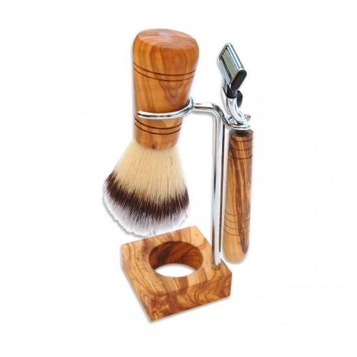 Shaving Holder RUDI PLUS, olive wood, various versions   D.O.M.