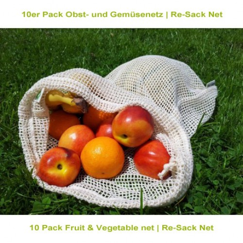 Re-Sack Net – 10 Pack Fruit & Vegetable net made of organic cotton