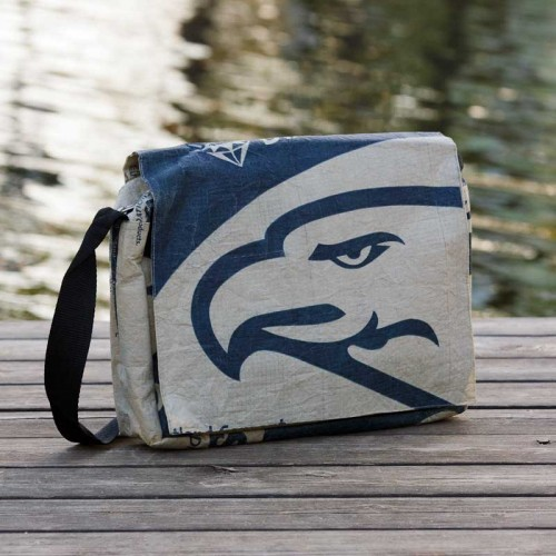 Upcycling Shoulder Bag Blue Eagle