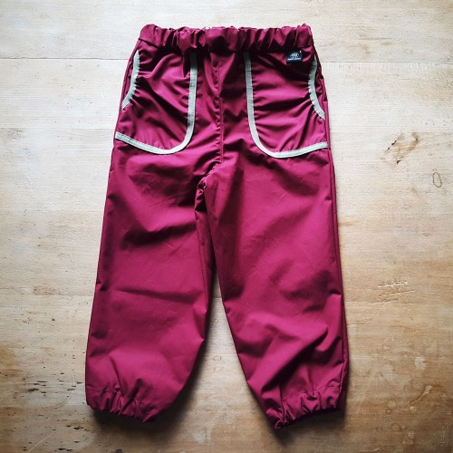 Kids' Rain Pants, adjustable waist, Eta-Proof Organic Cotton, berry | Ulalue