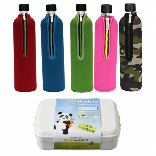 Eco Travelling Set; Glass Bottle & Lunchbox
