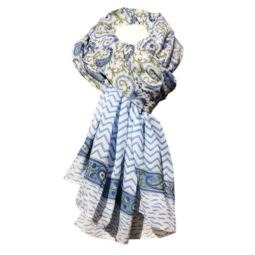Fair Trade Shawl & Pareo Jaipur - Paisley Green/Blue | Sundara Paper Art