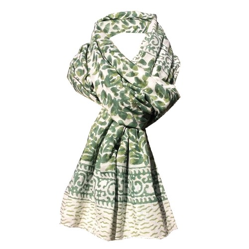 Fair Trade Shawl & Pareo Jaipur - Leafs Green/White | Sundara Paper Art
