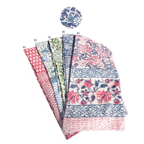 Fair Trade Shawl & Pareo Jaipur - Flowers Blue/Grey | Sundara Paper Art