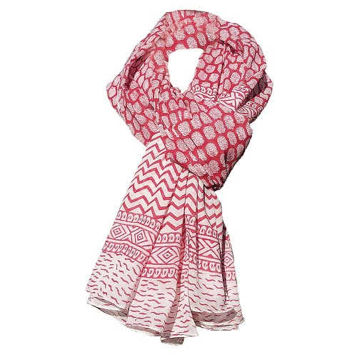 Fair Trade Shawl & Pareo Jaipur - Dots Red/White | Sundara Paper Art