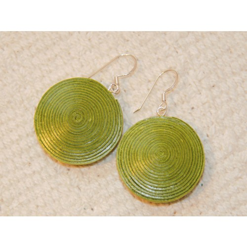Green Disc Earrings made of eco paper | Sundara Paper Art
