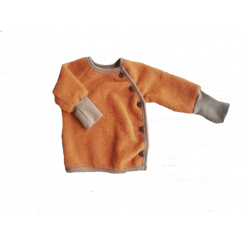 Eco Wool Fleece Baby Jumper, Swiss Style Baby Cardigan, Amber | Ulalue