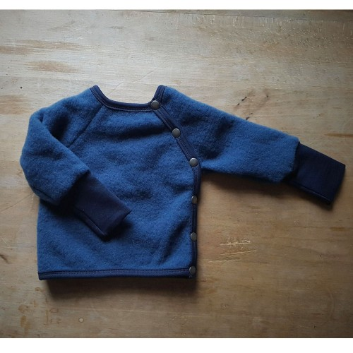 Baby Organic Wool Fleece Buttoned Jumper Night Blue
