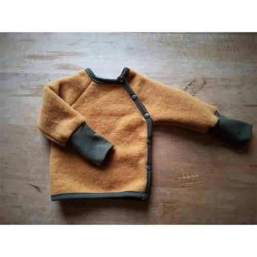 Swiss Style Baby Cardigan, Turmeric Eco Wool Fleece | Ulalue