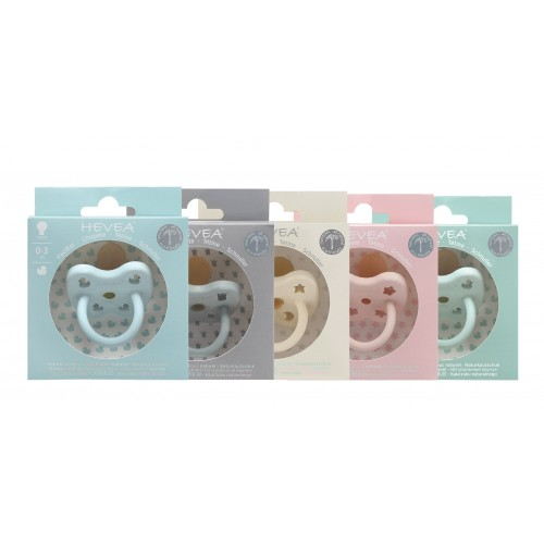Hevea Pacifier in Pastel Shades, 0-3 & 3-36 month