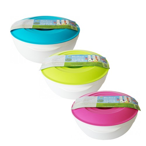 Bioplastic bowl with colourful lid 2 L | Biodora