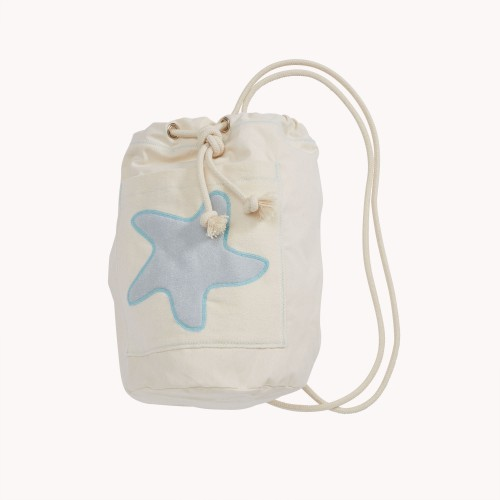 early fish Sea Bag with Starfish Light Grey, GOTS Organic Cotton