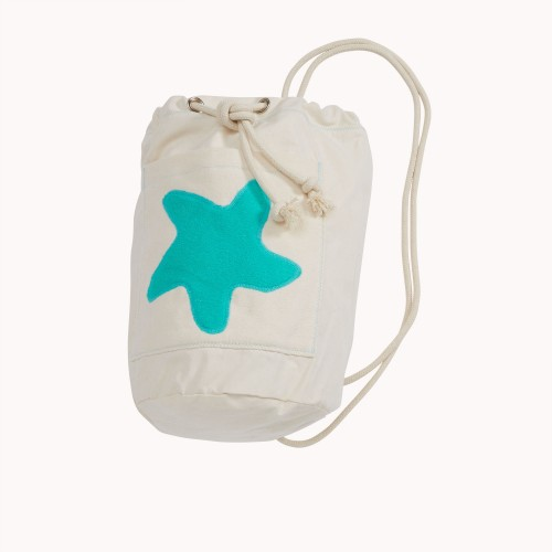 early fish Sea Bag with Starfish Sea Green, GOTS Organic Cotton