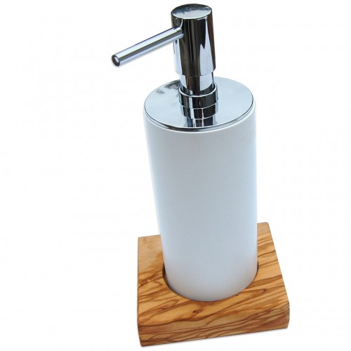 Porcelain Soap Dispenser NOBLE on a base of Olive Wood | D.O.M.