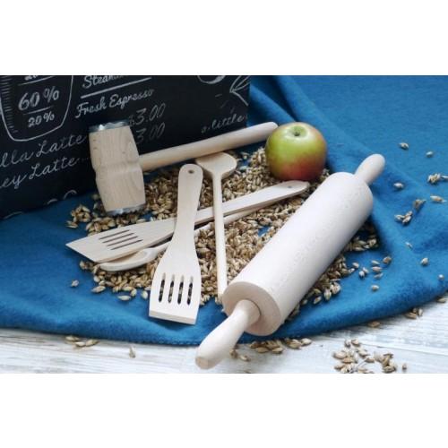 Öko Holzlöffel Set mit Teigroller + Fleischklopfer