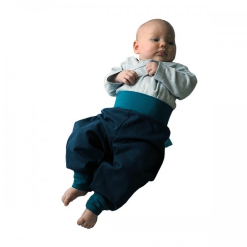 Summer Pull-On Baby Sweat Trousers navy/emerald Eco Cotton | bingabonga