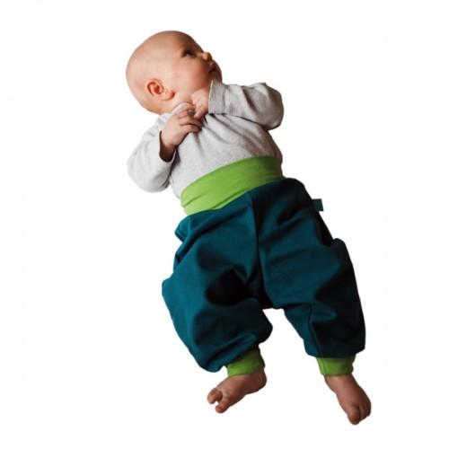 Summer Pull-On Baby Trousers emerald/kiwi Eco Cotton | bingabonga