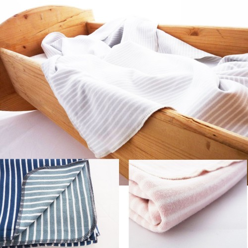 Baby Blanket & Swaddle Blanket of organic jersey, striped   Ulalue