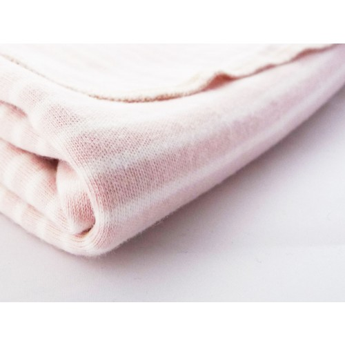 Baby Blanket & Swaddle Blanket of organic jersey, rose-white striped | Ulalue