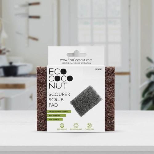 Plastic-free EcoCoconut Dish Sponge, Twin Pack