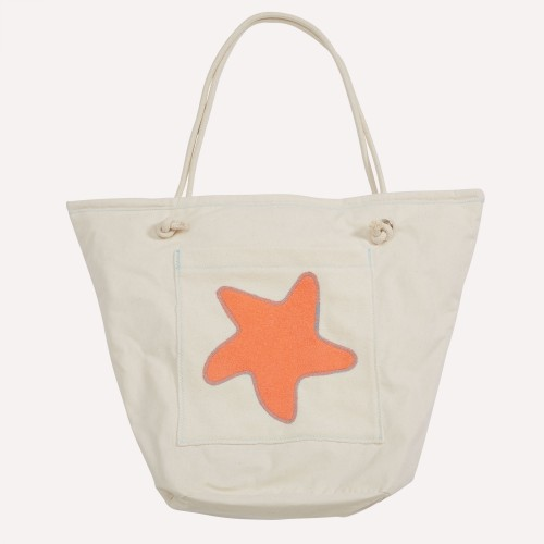 early fish Eco Beach Bag, Coral, with Starfish, Organic Cotton