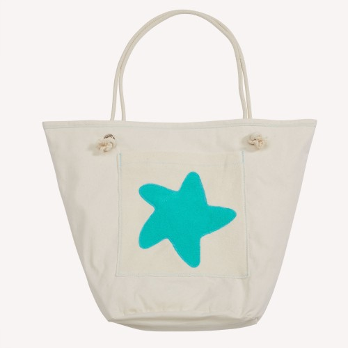 early fish Eco Beach Bag, Sea Green, with Starfish, Organic Cotton