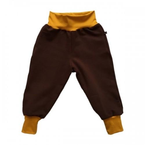 Brown Sweat Trousers with yellow waistband, organic cotton | bingabonga