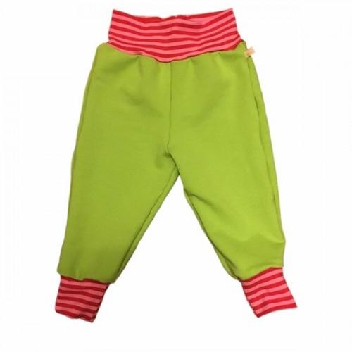 Lime organic kids sweatpants with pink striped waistband | bingabonga